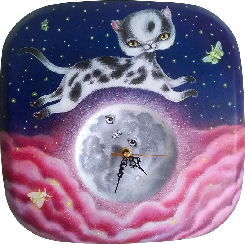 cat jumped over the moon clock