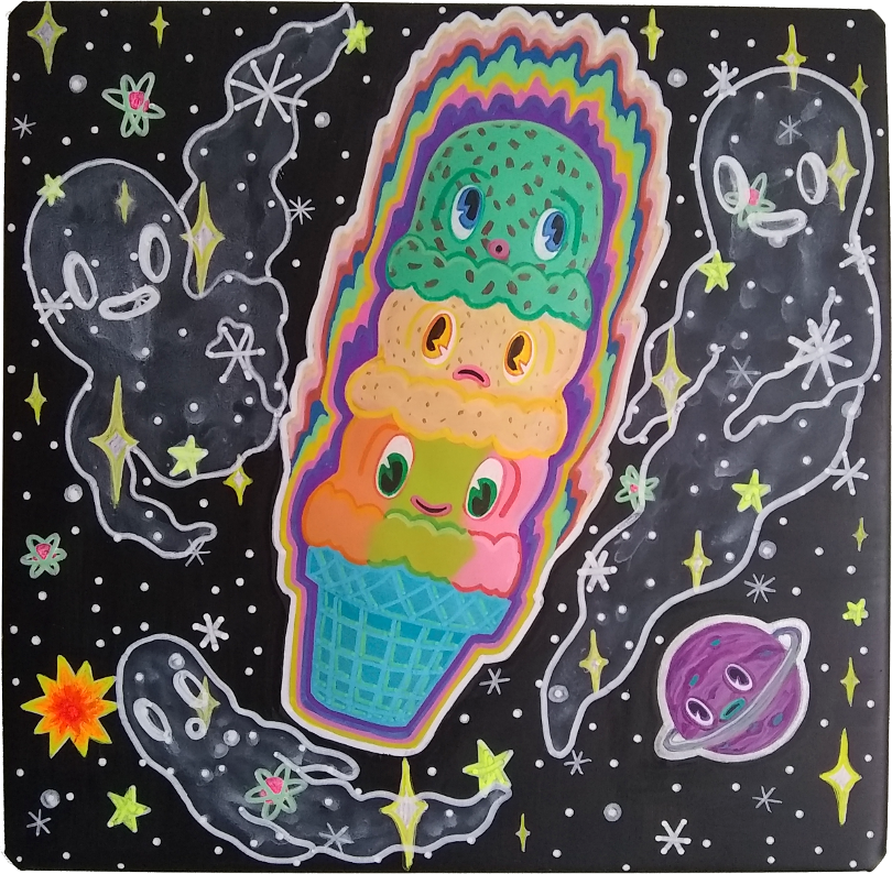 ice cream in space with ghosts